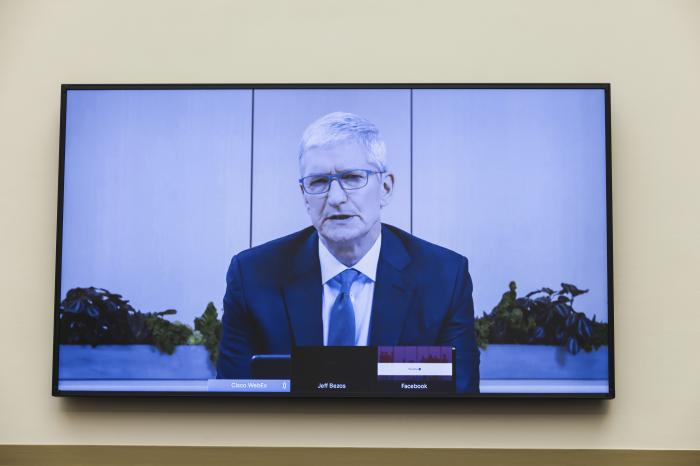 Apple CEO Tim Cook speaks via video conference during a House Judiciary subcommittee hearing on antitrust on Capitol Hill.