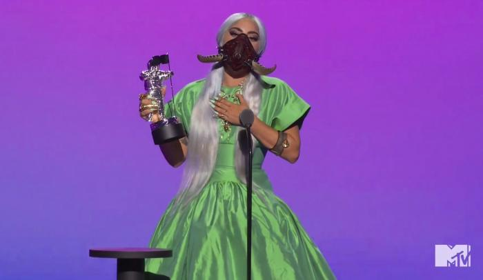 """Lady Gaga accepts the award for song of the year for """"Rain On Me"""" during the MTV Video Music Awards."""