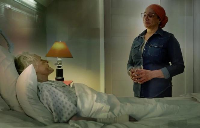 Glenn Close as Roy Cohn and S. Epatha Merkerson as Belize in 'The Great Work Begins: Scenes from Angels in America.'