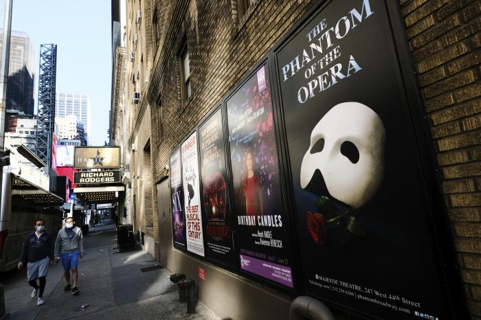 Broadway posters outside the Richard Rodgers Theatre in New York.