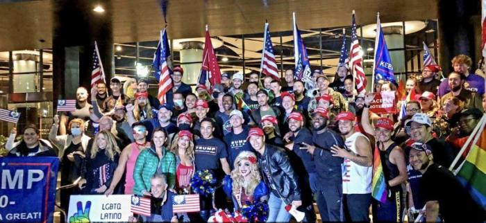 Marchers at Friday night's Pro Trump march in Los Angeles