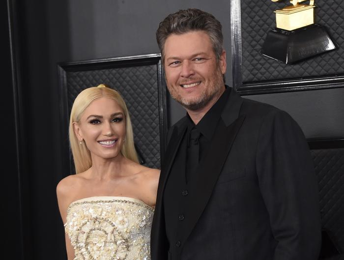 Gwen Stefani, left, and Blake Shelton