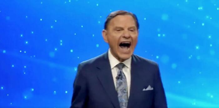 Kenneth Copeland in a screenshot of his maniacal laugh attack recorded on Sunday, November 8
