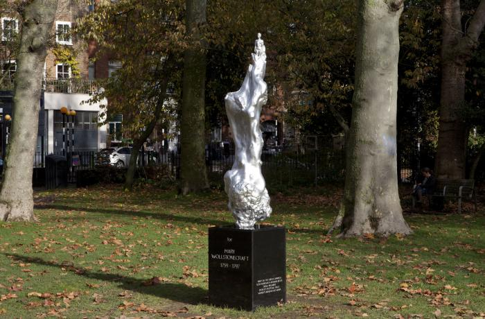 This undated handout photo issued by the Mary on the Green campaign of Maggi Hambling's 'A Sculpture for Mary Wollstonecraft' which has been unveiled on Newington Green, London.