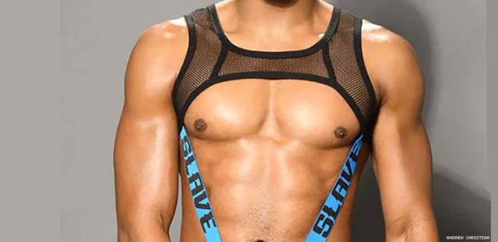 "The pic used to promote the ""Slave Net C-Ring Harness"" on the Andrew Christian website that featured a model of color"