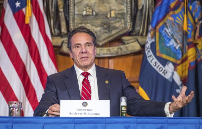 Gov. Cuomo holds a press briefing on the coronavirus in the Red Room at the State Capitol in Albany, N.Y.