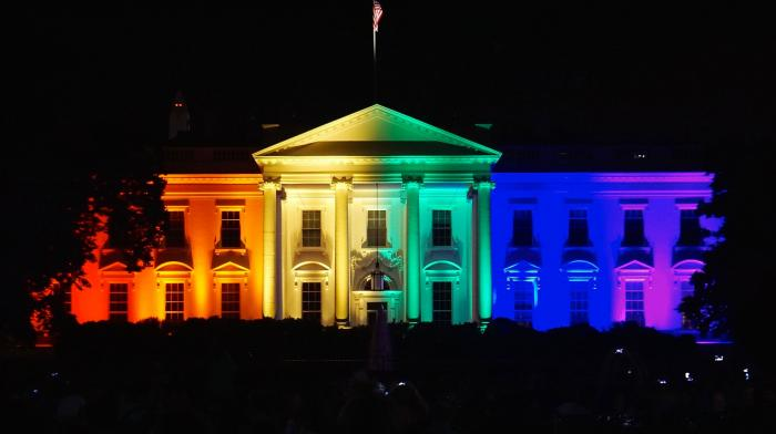 The White House lit in pride colors in June, 2015