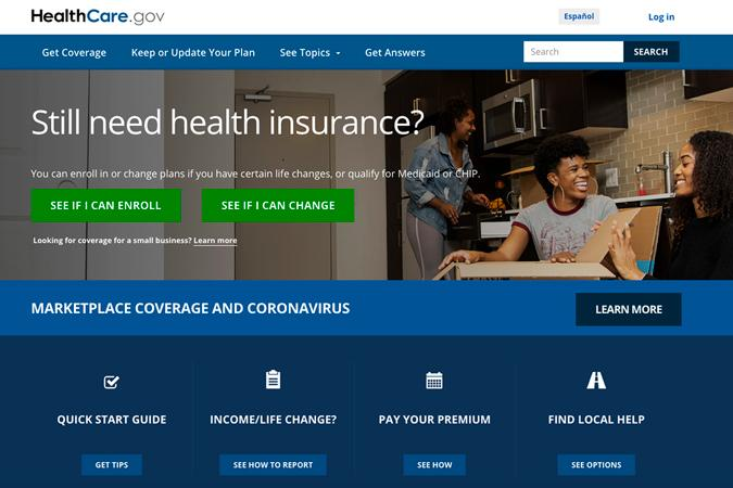 This screen grab from the website shows the main web page for the HealthCare.gov. HealthCare.gov's market for subsidized health plans reopens Monday, Feb. 15, 2021, for a special three-month sign-up window, as the Democratic-led Congress weighs legislation that could cut premiums by double digits for many