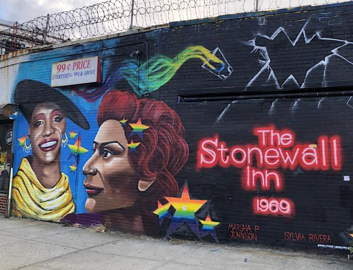 A mural depicting Marsha P. Johnson and Sylvia Rivera in Queens, New York.