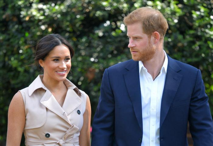 Britain's Prince Harry and Meghan Markle appear at the Creative Industries and Business Reception at the British High Commissioner's residence in Johannesburg.