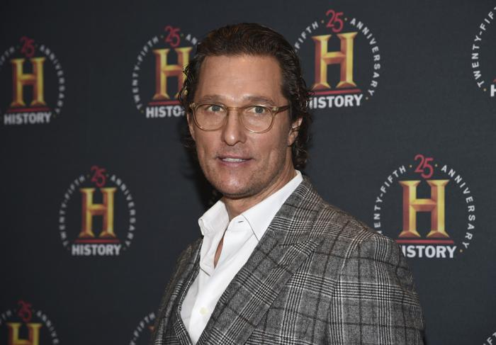 """In this Feb. 29, 2020, file photo actor Matthew McConaughey attends A+E Network's """"HISTORYTalks: Leadership and Legacy"""" in New York"""