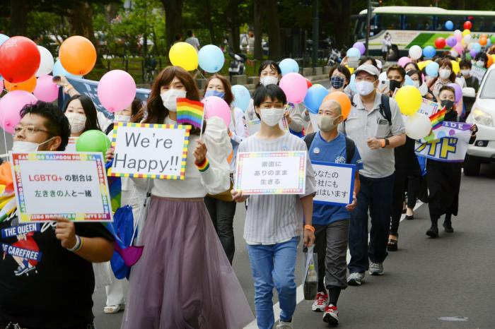 Supporters of LGBTQ community parade in Sapporo, northern Japan.