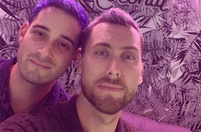 Michael Turchin and Lance Bass in the TikTok video they created to announce they are to be parents.