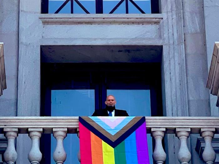 Pennsylvania Lt. Gov. John Fetterman's Pride flag was taken down hours after being lifted at the state's Capitol building.