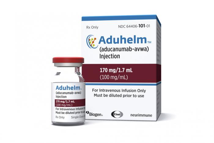 A vial and packaging for the drug Aduhelm.