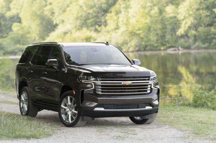 This undated photo from General Motors shows the 2021 Chevrolet Tahoe, a large SUV that has been redesigned this year