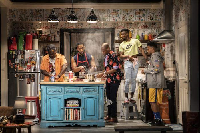 The cast of the Off-Broadway production of Katori Hall's 'The Hot Wing King.'