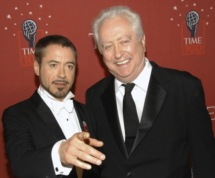 Actor Robert Downey Jr., left, and his father Robert Downey Sr. arrive at Time's 100 Most Influential People in the World Gala in New York on May 8, 2008.