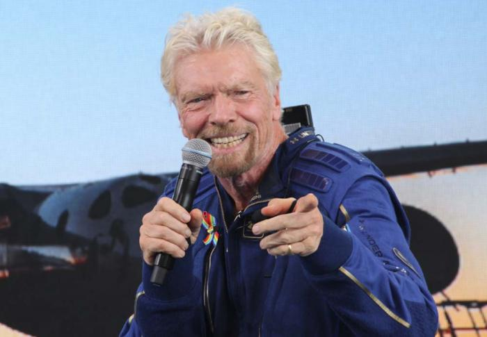 Richard Branson answers students' questions during a news conference at Spaceport America near Truth or Consequences, N.M., on Sunday, July 11, 2021.