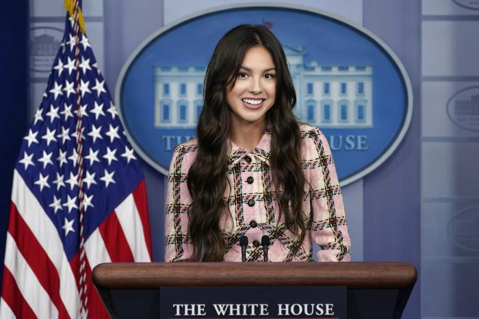Teen pop star Olivia Rodrigo speaks at the beginning of the daily briefing at the White House.