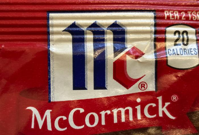 This Tuesday Nov. 24, 2020, file photo shows the logo for McCormick & Co. McCormick is voluntarily recalling some seasonings due to possible salmonella contamination