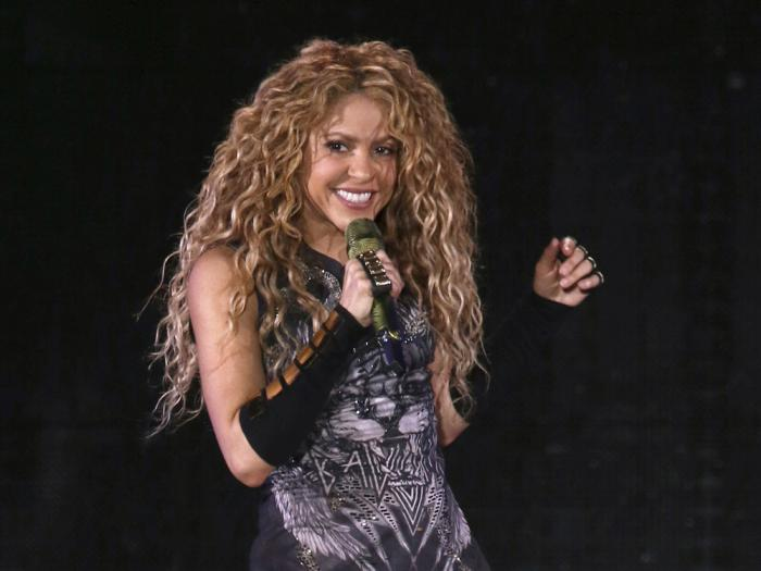 This Aug. 10, 2018 file photo shows Shakira performing in concert at Madison Square Garden in New York